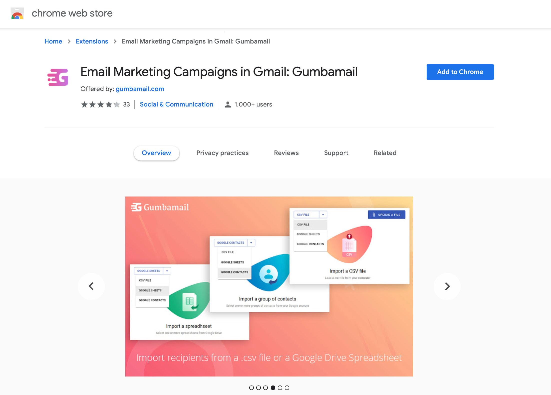 Gumbamail Chrome store
