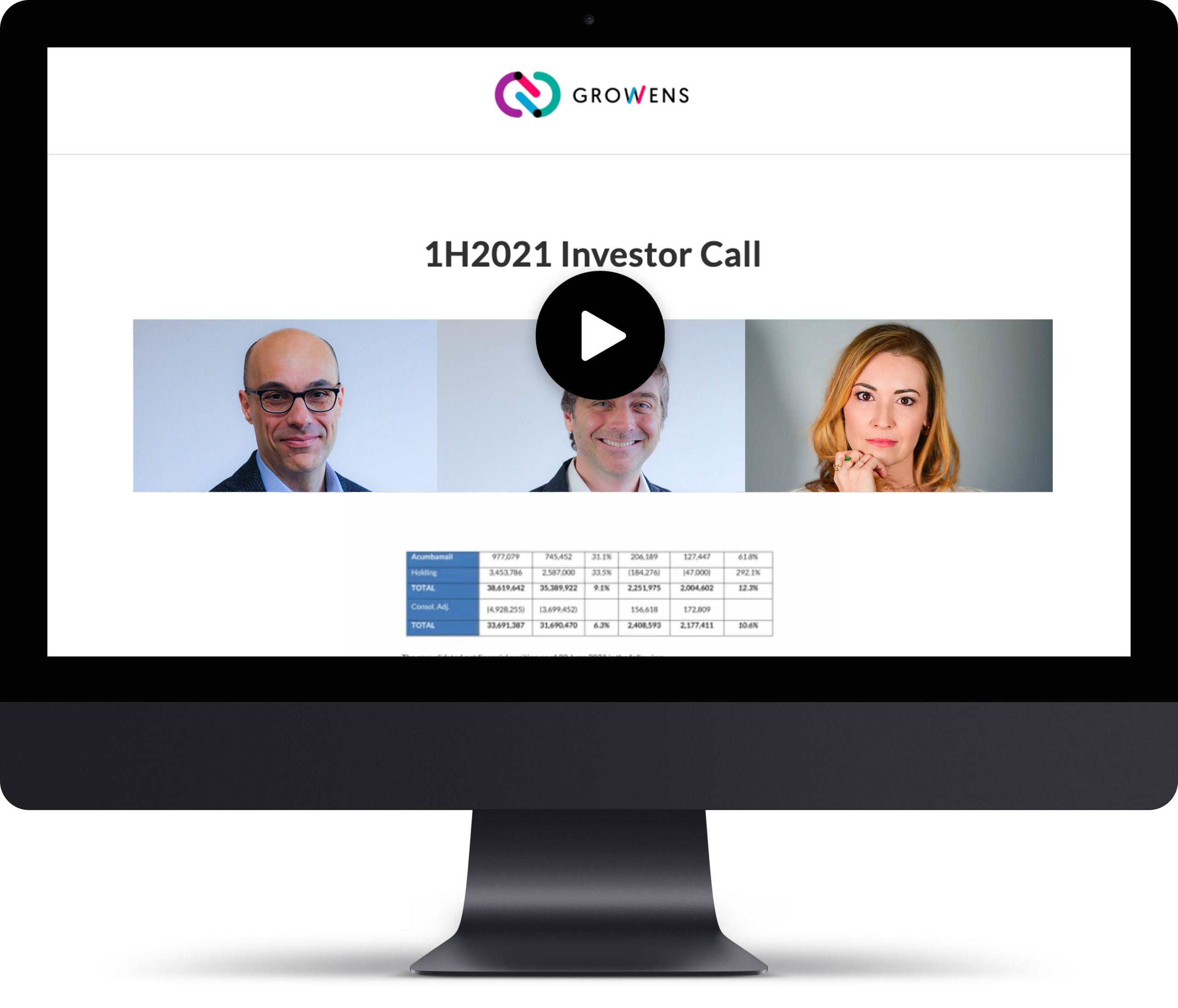 Watch the 1H2021 Conference Call